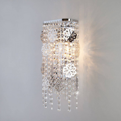 Настенный светильник Eurosvet Flower 10083/2 хром/прозрачный хрусталь Strotskis